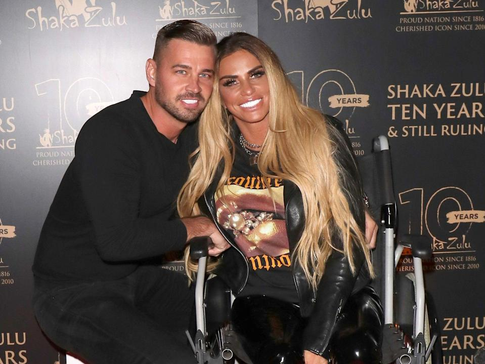 Katie Price and fiancee Carl Woods in September 2020 (Mark R Milan/Shutterstock)
