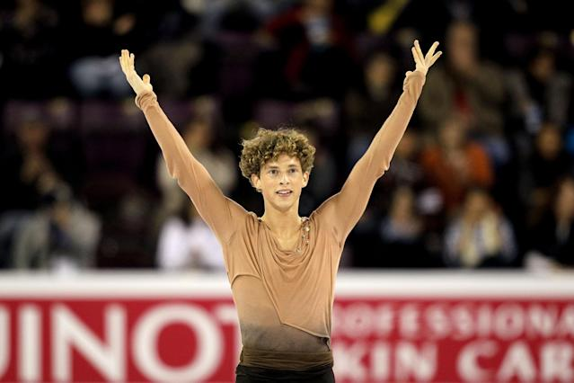 <p>Rippon competes in the Men's Free Skate during the ISU Four Continents Figure Skating Championships in Colorado Springs.<br>(Photo by Matthew Stockman/Getty Images) </p>