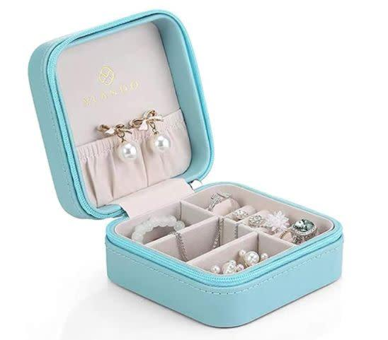 "Find this Vlando Small Travel Jewelry Box for $11 on <a href=""https://amzn.to/3fY2f2s"" rel=""nofollow noopener"" target=""_blank"" data-ylk=""slk:Amazon"" class=""link rapid-noclick-resp"">Amazon</a>."