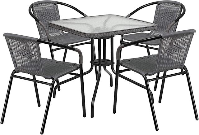 Flash Furniture Glass Metal Table and 4 Rattan Stack Chairs