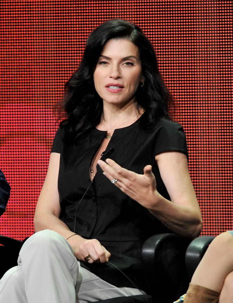 """Julianna Margulies participates in """"The Good Wife"""" panel at the CBS Summer TCA on Monday, July 29, 2013, at the Beverly Hilton hotel in Beverly Hills, Calif. (Photo by Chris Pizzello/Invision/AP)"""