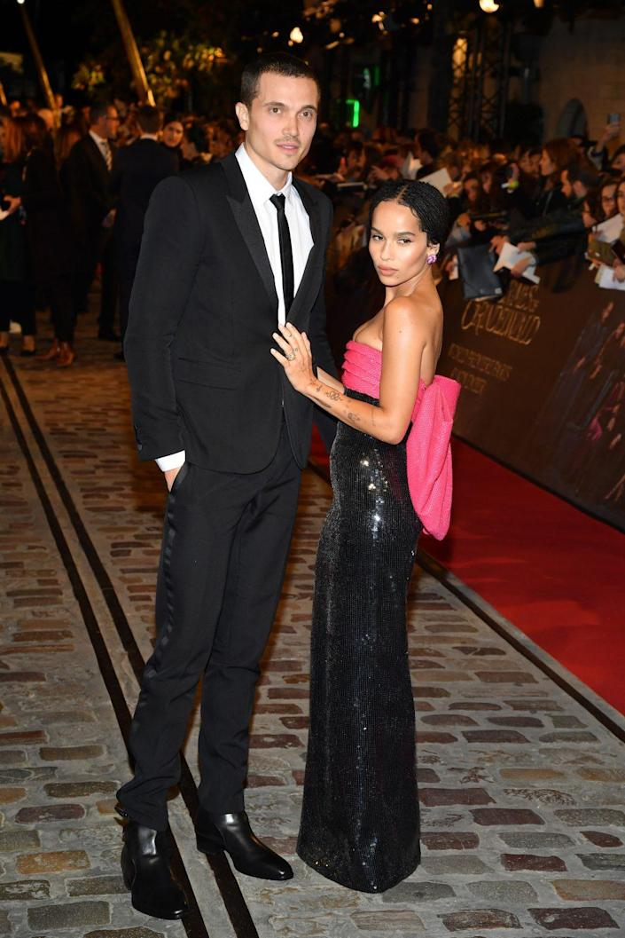 "Karl Glusman and Zoe Kravitz attend ""Fantastic Beasts: The Crimes Of Grindelwald"" World Premiere at UGC Cine Cite Bercy on November 8, 2018 in Paris, France. (Photo by Pascal Le Segretain/Getty Images)"