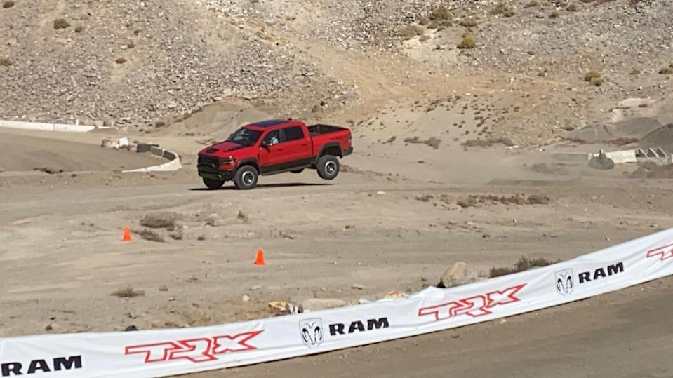 Adaptive Bilstein shocks and massive coil springs ease the blow of rough landings in the 2021 Ram 1500 TRX pickup.