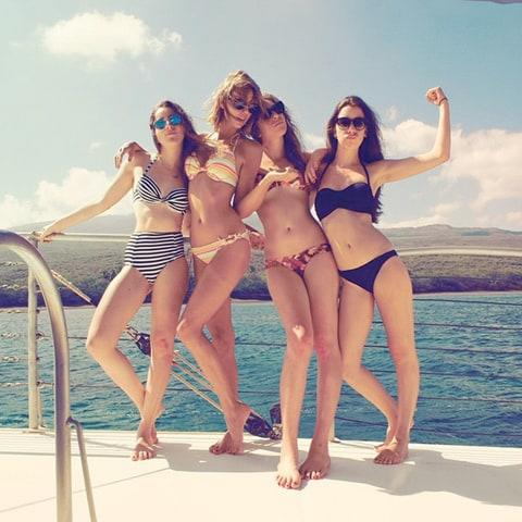With their buddy Taylor Swift in Hawaii, 2015.
