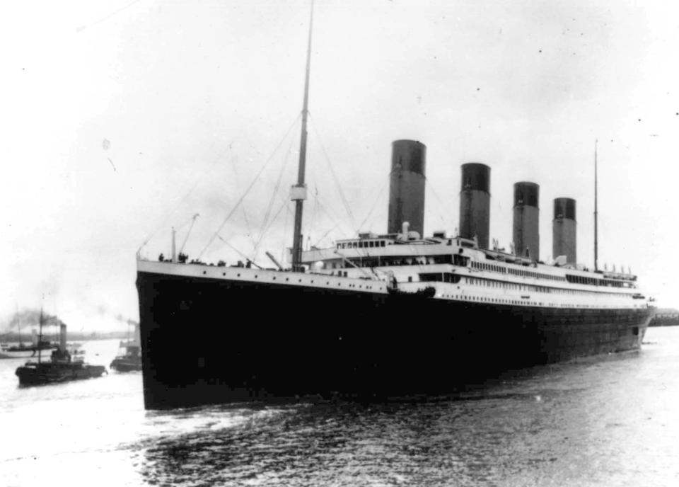 FILE - In this April 10, 1912 file photo the Titanic leaves Southampton, England on her maiden voyage. The U.S. government will try to stop a company's planned salvage mission to retrieve the Titanic's wireless telegraph machine, arguing the expedition would break federal law and a pact with Britain to leave the iconic shipwreck undisturbed. U.S. attorneys filed a legal challenge before a federal judge in Norfolk, Va, late Monday, June 8, 2020. The expedition is expected to occur by the end of August. (AP Photo/File)