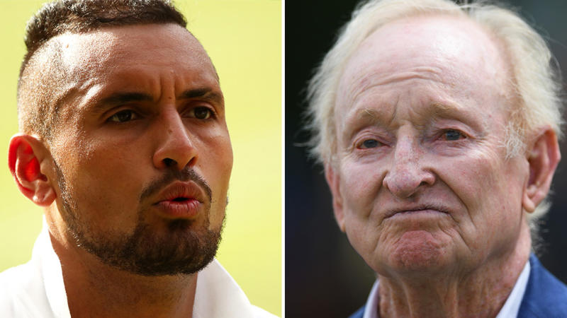 Rod Laver (pictured right) says Nick Kyrgios (pictured left) needs to be more disciplined if he wants to reach his potential. (Getty Images)