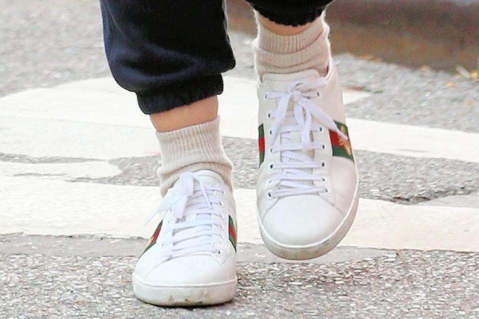 A closer view of Katie Holmes' sneakers. - Credit: Christopher Peterson/Splash News