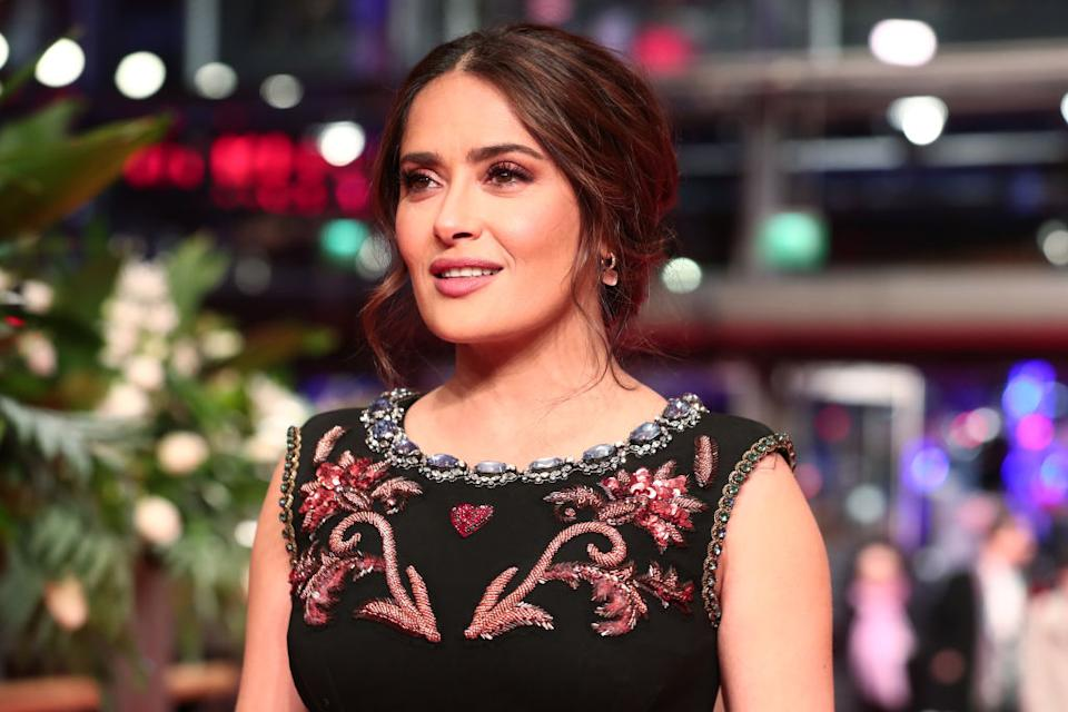 Salma Hayek has stunned Instagram with another make-up free selfie, pictured here at The Roads Not Taken premiere, February 2020 in Berlin. (Getty Imagest)