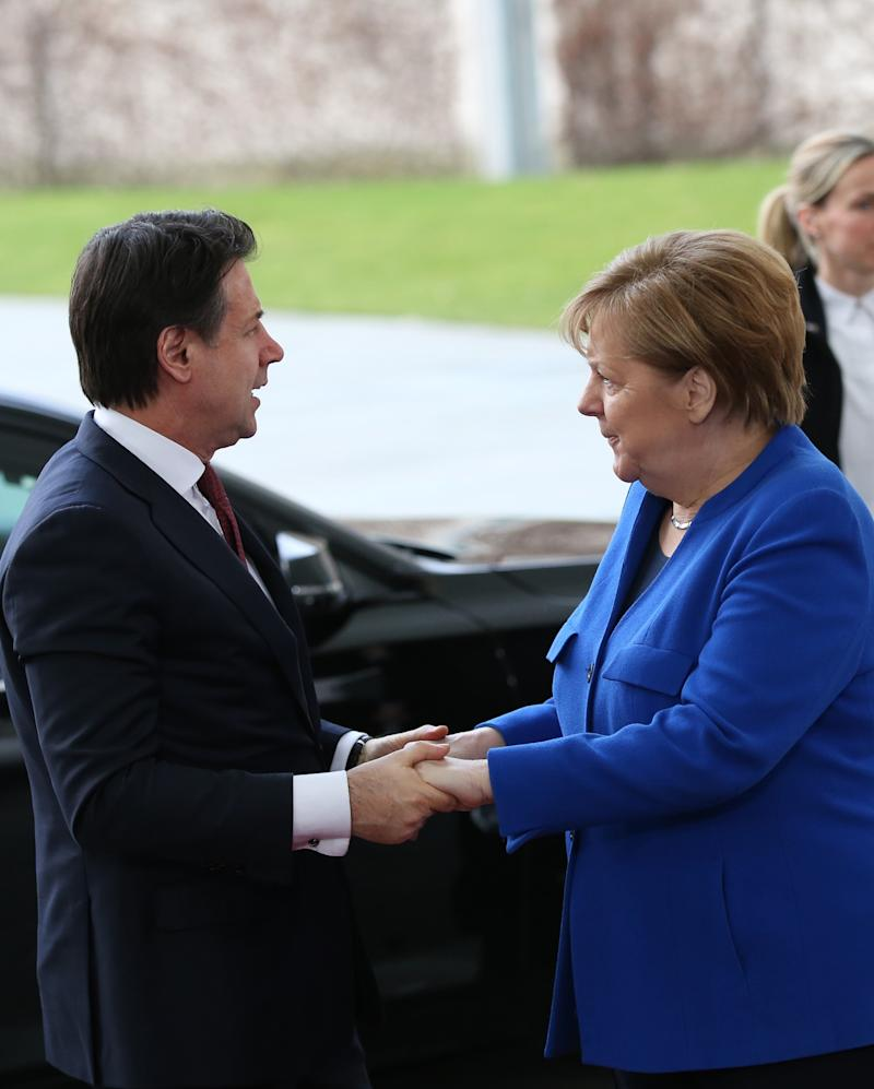 BERLIN, GERMANY - JANUARY 19: Italian Prime Minister Giuseppe Conte is welcomed by German Chancellor Angela Merkel within the Berlin Conference on Libyan peace in Berlin, Germany on January 19, 2020. (Photo by Murat Kula/Anadolu Agency via Getty Images) (Photo: Anadolu Agency via Getty Images)