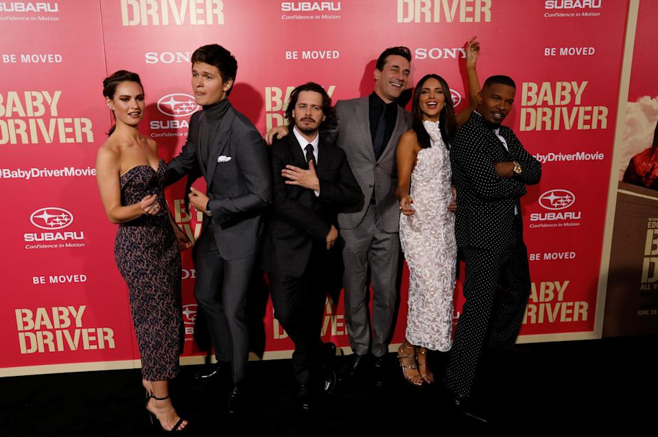 "Director of the movie ""Baby Driver"" Edgar Wright (3rd L) and cast members (L-R) Lily James, Ansel Elgort, Jon Hamm, Eiza Gonzalez and Jamie Foxx pose at the premiere for the movie in Los Angeles, California, U.S., June 14, 2017.   REUTERS/Mario Anzuoni"