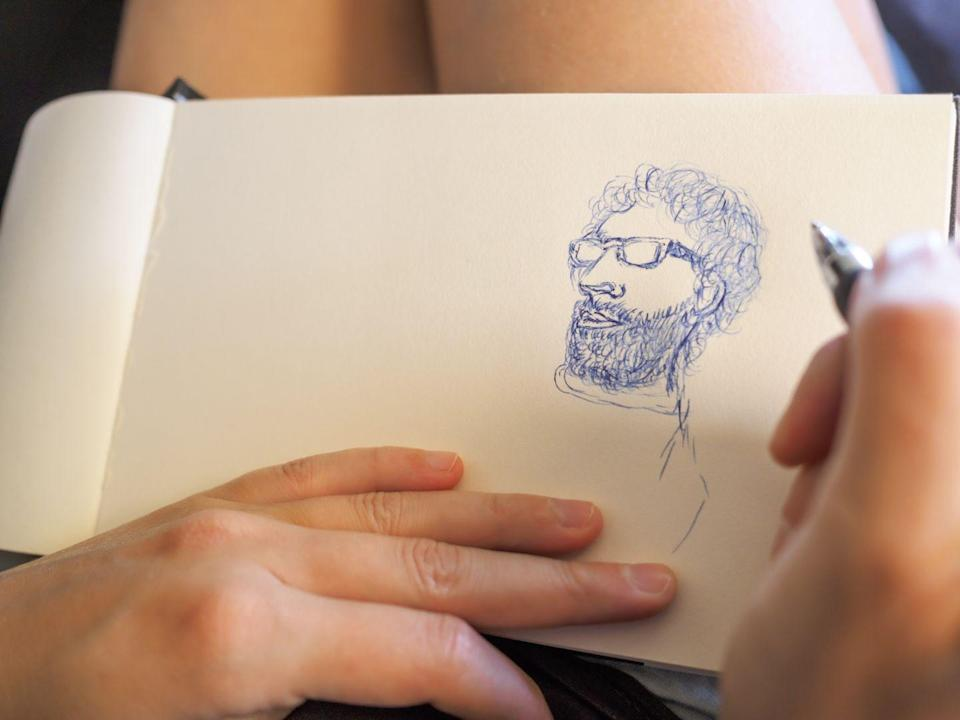<p>Fall brings school supplies, so it's easy to find artsy items in stores or online. Buy your materials, take a seat, and take turns sketching each other. Even if you're no Picasso, effort counts. </p>