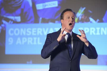 Britain's Prime Minister, David Cameron, addresses the Conservative Spring Forum in central London, Britain April 9, 2016. REUTERS/Kerry Davies/Pool