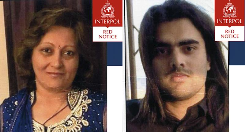 Arti Dhir (L), 55, and Kaval Raijada, 30,are wanted in India for the murder of their adopted son (Picture: Interpol)