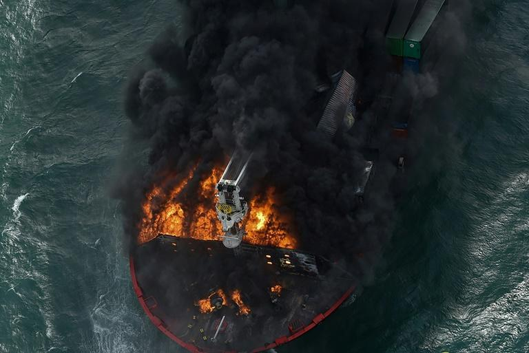 The fire on the ship has been burning for six days