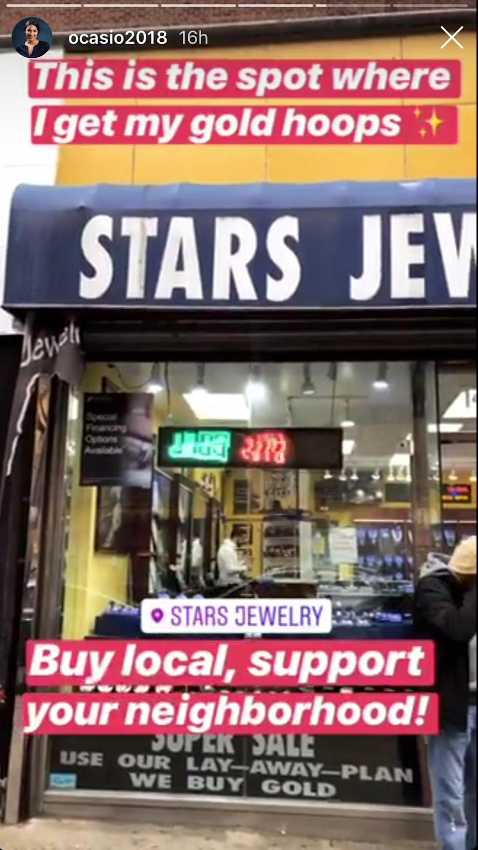 Rep. Ocasio-Cortez posted a video showing where she bought her gold hoops in the Bronx. (Photo: Alexandria Ocasio-Cortez via Instagram)