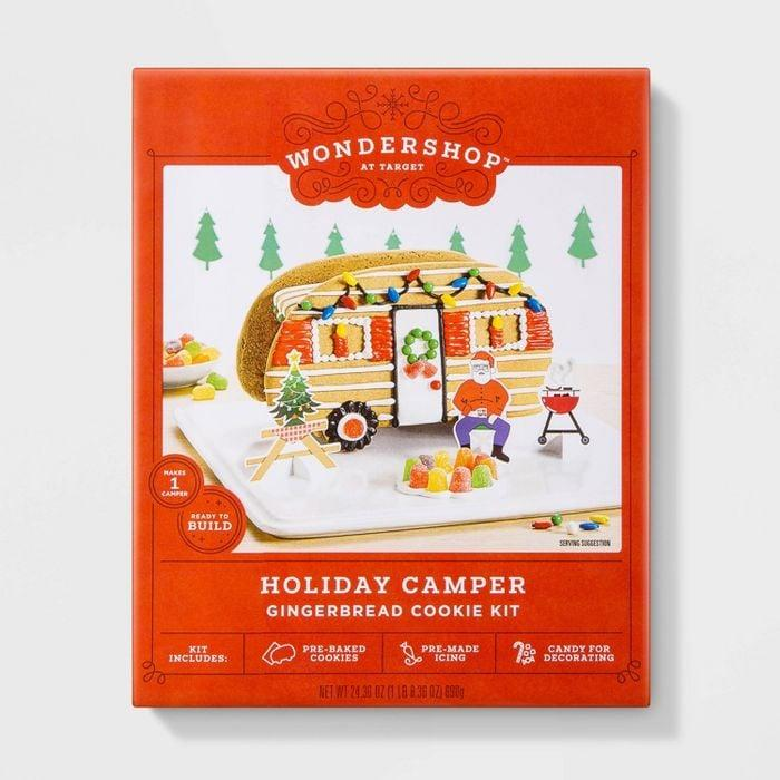 Target Has a Camper Gingerbread Kit Featuring Santa Relaxing and Sipping His Hot Cocoa