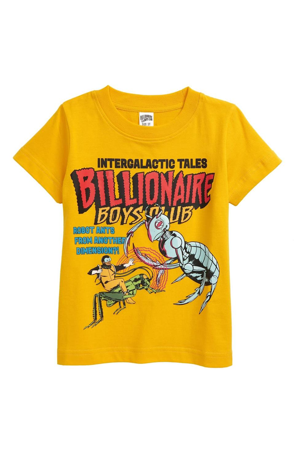 """<p><strong>Billionaire Boys Club</strong></p><p>fave.co</p><p><strong>$45.00</strong></p><p><a href=""""https://fave.co/3lLdgrx"""" rel=""""nofollow noopener"""" target=""""_blank"""" data-ylk=""""slk:Shop Now"""" class=""""link rapid-noclick-resp"""">Shop Now</a></p><p>Okay, a t-shirt may not seem like it's the most exciting gift, but when it features cool graphics like this one, trust me, it'll become your guy's favorite. The comic-inspired graphic will give off vintage vibes once it's been through the washer a few times. </p>"""