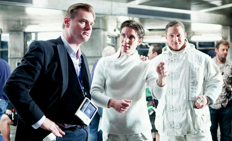 Chris Nolan on the set of 'Inception' with Cillian Murphy and Tom Hardy (Credit: Warner Bros.)