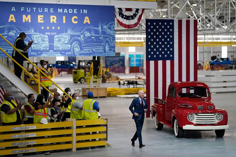 President Joe Biden arrives to speak after a tour of the Ford Rouge EV Center on Tuesday in Dearborn, Mich.