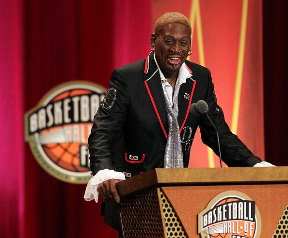 Dennis Rodman gestures during the Basketball Hall of Fame Enshrinement Ceremony at Symphony Hall on August 12, 2011 in Springfield, Massachusetts. (Getty Images)