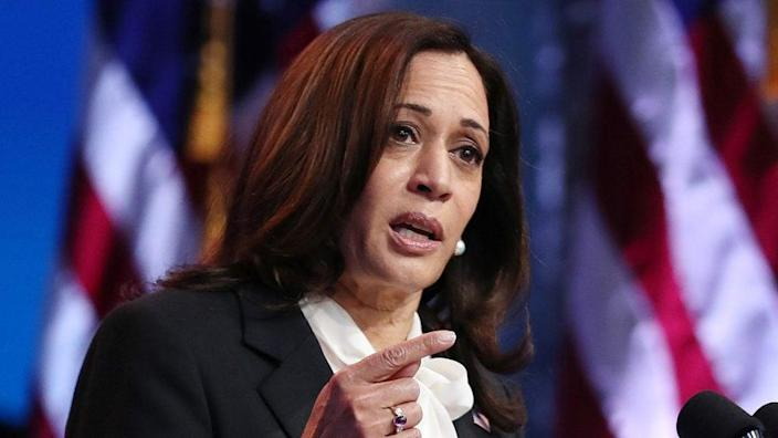 California Gov. Gavin Newsom is under pressure to fill the Senate seat left vacant by the election of Sen. Kamala Harris (above) as vice president with another Black woman. (Photo by Joe Raedle/Getty Images)