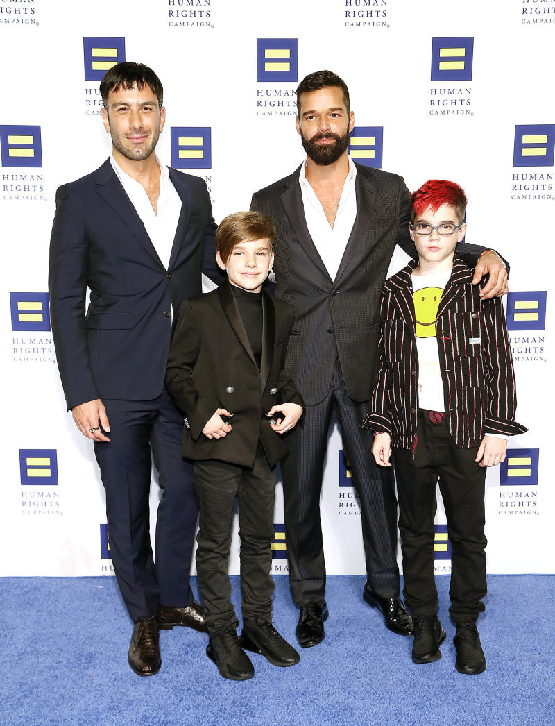 WASHINGTON, DC - SEPTEMBER 28: Jwan Yosef, Ricky Martin, Matteo Martin and Valentino Martin attend the 23rd Annual Human Rights Campaign National Dinner at the Washington Convention Center on September 28, 2019 in Washington, DC. (Photo by Paul Morigi/Getty Images)