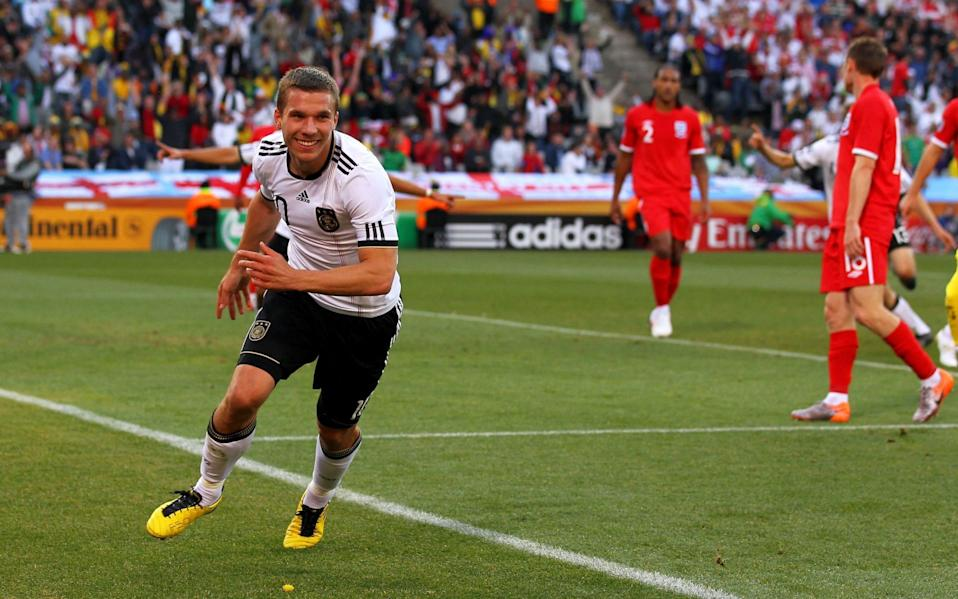 Lukas Podolski of Germany celebrates scoring his side's second goal - Getty Images