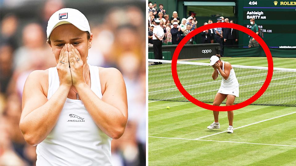 World No.1 Ash Barty (pictured) becoming emotional on Centre Court after winning her first Wimbledon title.