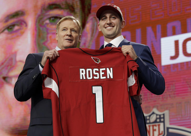 UCLA's Josh Rosen, right, poses with commissioner Roger Goodell after being selected by the Arizona Cardinals. (AP)