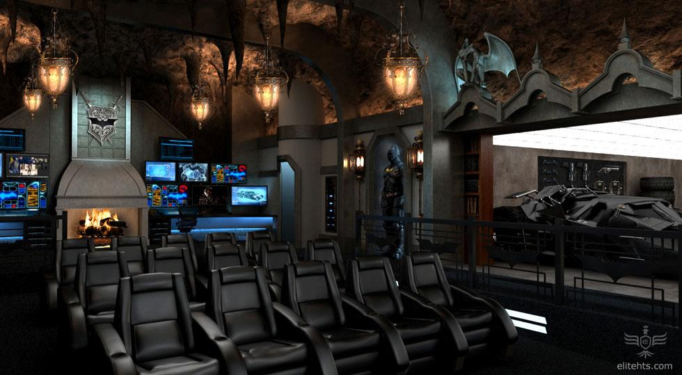 <b>'Dark Knight' Theater</b><br><br>Modeled after Wayne Manor and Gotham City, another rear view of the batcave home theater, again, reveals the secret room with the Batmobile.