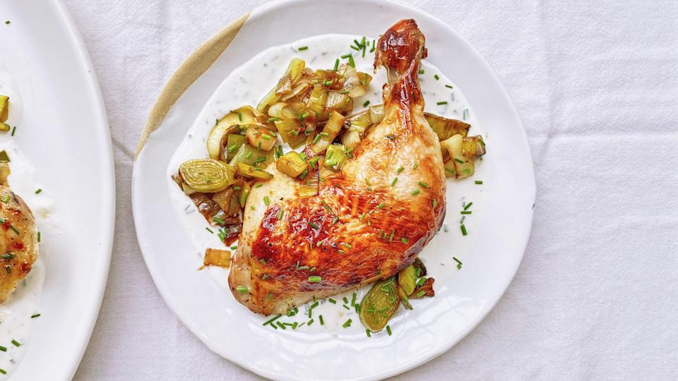 "We have chef and cookbook author Samin Nosrat to credit for the idea of roasting poultry straight out of a buttermilk bath, which not only imparts delicious tangy flavor, but also helps the skin achieve a walnut-colored hue when roasted at high heat. <a href=""https://www.bonappetit.com/recipe/spring-chicken?mbid=synd_yahoo_rss"" rel=""nofollow noopener"" target=""_blank"" data-ylk=""slk:See recipe."" class=""link rapid-noclick-resp"">See recipe.</a>"