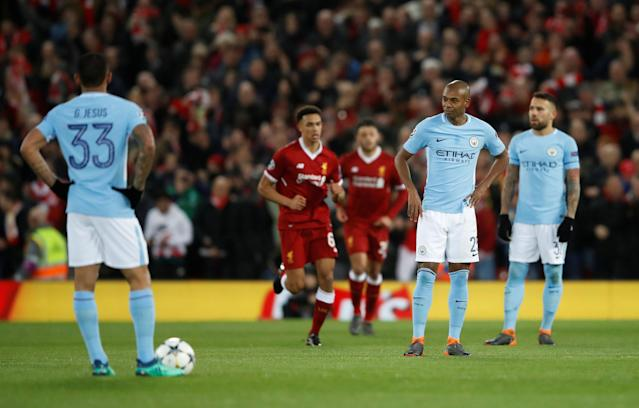<p>Soccer Football – Champions League Quarter Final First Leg – Liverpool vs Manchester City – Anfield, Liverpool, Britain – April 4, 2018 Manchester City's Fernandinho looks dejected after Liverpool's Mohamed Salah (not pictured) scored their first goal Action Images via Reuters/Carl Recine </p>