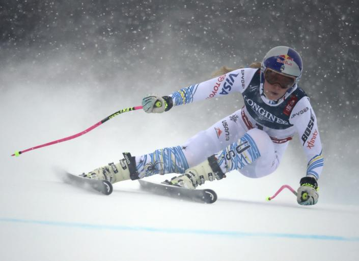 United States' Lindsey Vonn speeds down the course during the downhill portion of the women's combined, at the alpine ski World Championships in Are, Sweden, Friday, Feb. 8, 2019. (AP Photo/Alessandro Trovati)