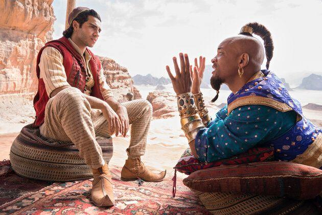 Mena Massoud and a non-blue Will Smith in Aladdin.