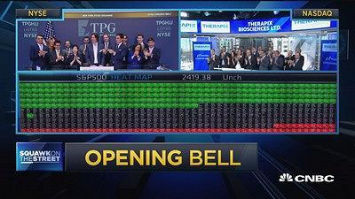 Ringing today's opening bells are TPG Pace Holdings with CEO Karl Peterson celebrating the first day of trading at the NYSE, and Therapix Biosciences Ltd. with CEO Dr. Elran Haber at the Nasdaq.