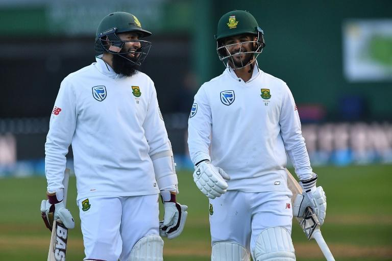South Africa's Hashim Amla (L) and Jean-Paul Duminy celebrate after winning their 2nd Test against New Zealand, at the Basin Reserve in Wellington, on March 18, 2017