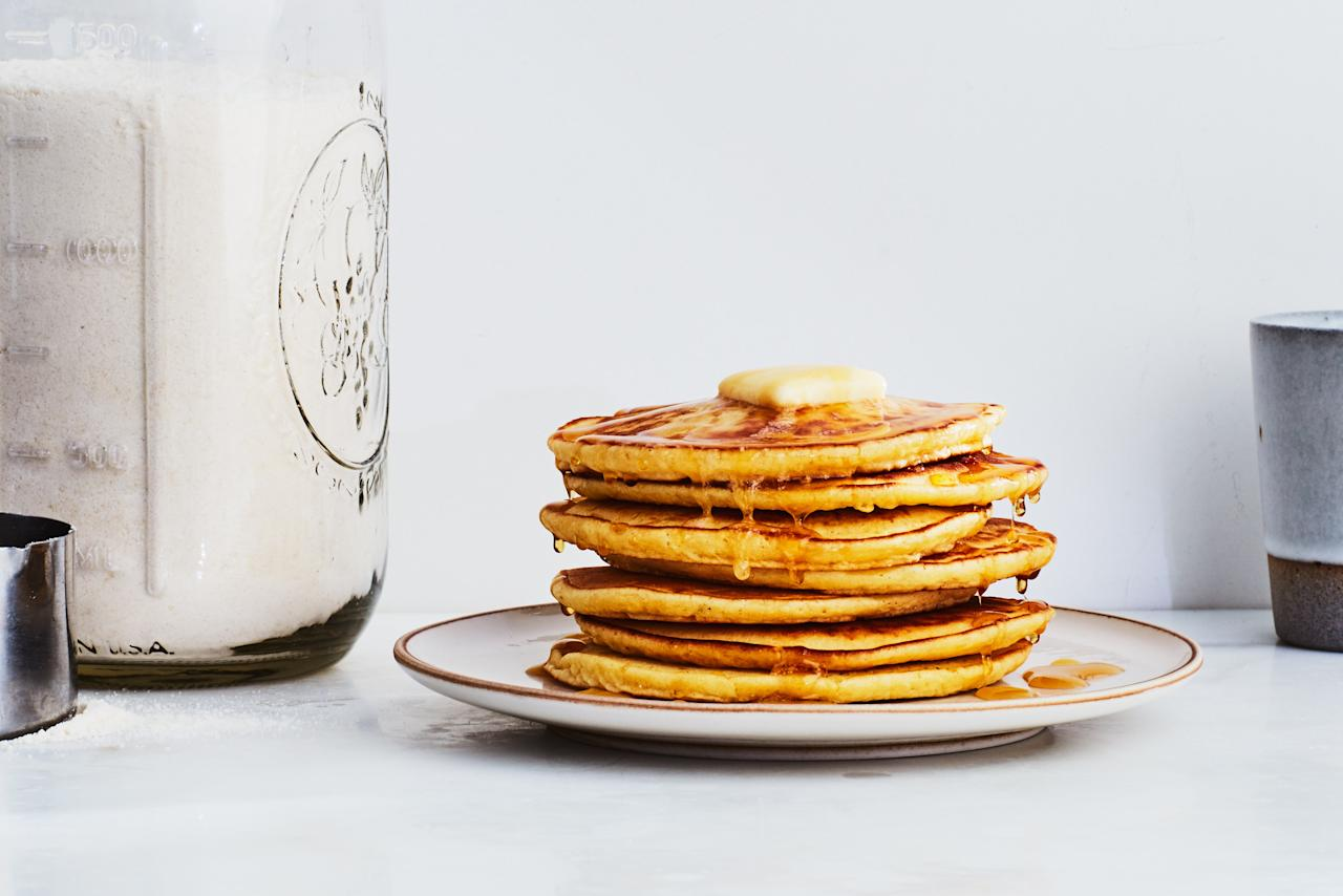 "Don't forget Thanksgiving breakfast! With this pancake and waffle dry mix on hand, all you need to do is whisk in eggs and milk for a complete batter ready for any busy morning. <a href=""https://www.epicurious.com/recipes/food/views/big-batch-pancake-and-waffle-mix?mbid=synd_yahoo_rss"">See recipe.</a>"