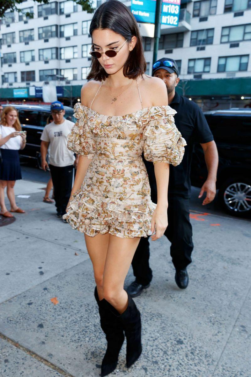 """<p><strong>When: Aug. 1, 2017</strong><br>Kim Kardashian's younger sister Kendall Jenner <a rel=""""nofollow"""" href=""""https://ca.style.yahoo.com/news/kim-kardashian-goes-vintage-shopping-131224999.html"""" data-ylk=""""slk:opted for an open neckline ruffled mini dress;outcm:mb_qualified_link;_E:mb_qualified_link;ct:story;"""" class=""""link rapid-noclick-resp yahoo-link"""">opted for an open neckline ruffled mini dress</a> by Alexandre Vauthier. (<em>Photo: Getty)</em> </p>"""