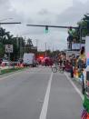 Emergency services are seen along the route of pride parade floats, in Wilton Manors, Florida, U.S. in this picture obtained from social media