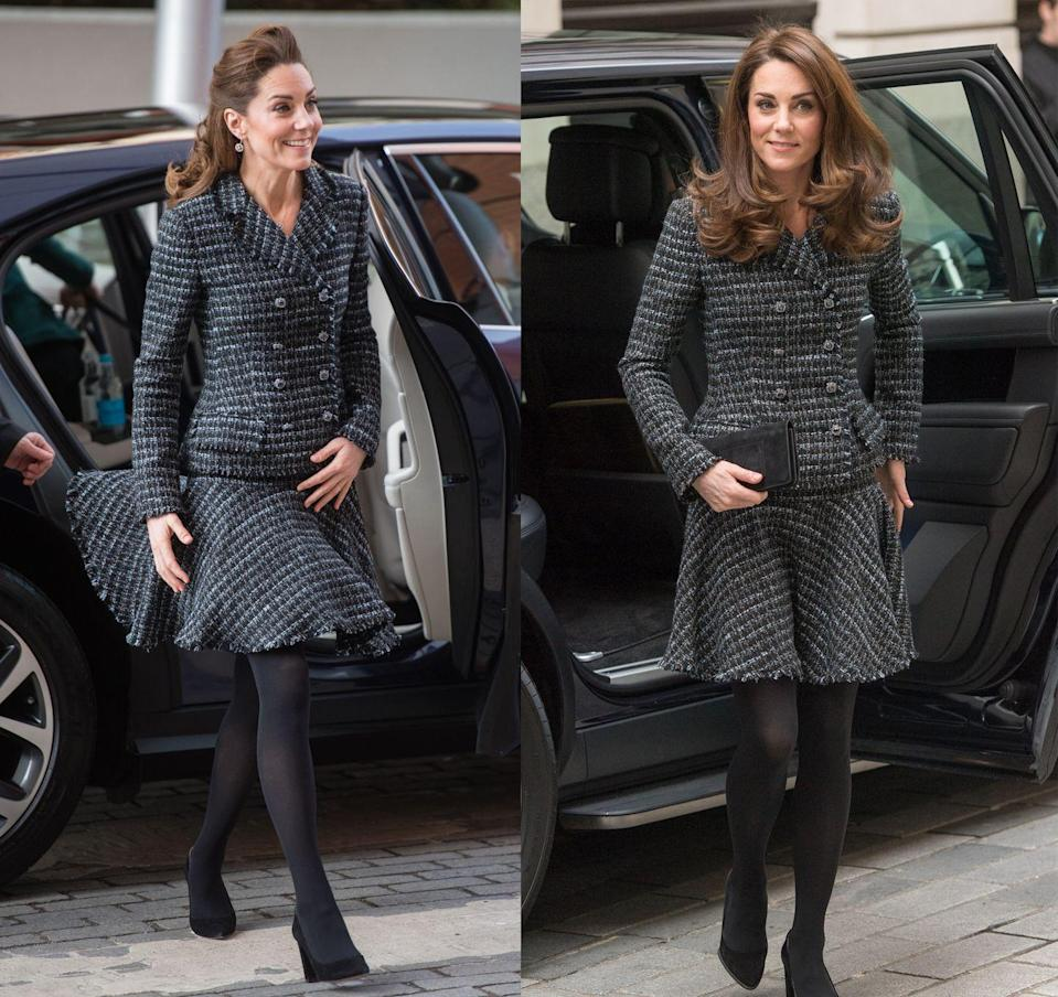 <p>The Duchess of Cambridge stepped out on Monday, January 27, to visit the Evelina Children's Hospital in London, rewearing a tweed boucle skirt suit by Dolce & Gabbana that she previously wore for the Royal Foundation's Mental Health in Education Conference in February 2019. </p>