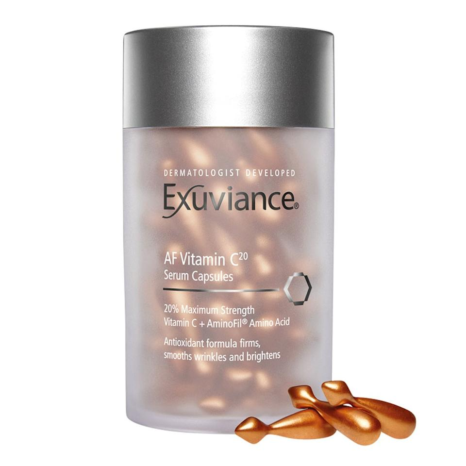 """<p><a href=""""https://www.allure.com/story/vitamin-c-benefits-for-skin?mbid=synd_yahoo_rss"""">Vitamin C</a> is heralded in the skin-care industry for its powerful ability to brighten and firm the skin, and Exuviance brings the ingredient in a relatively high concentration with its 20 percent Vitamin C Serum Capsules. When using this product in the daytime, follow it up with sunscreen to avoid any irritation caused by heightened photosensitivity.</p> <p><strong>$69 for 60 capsules</strong> (<a href=""""https://shop-links.co/1684705629112875347"""" rel=""""nofollow"""">Shop Now</a>)</p>"""