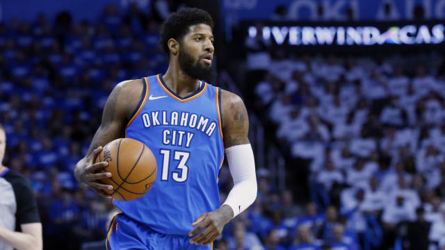 Thunder forward Paul George posted an unexplained photo of himself in a hospital bed before the team announced that he had knee surgery on Wednesday. (AP)