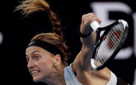 <span>Kvitova digs deep to hold serve during the second set</span> <span>Credit: AP </span>