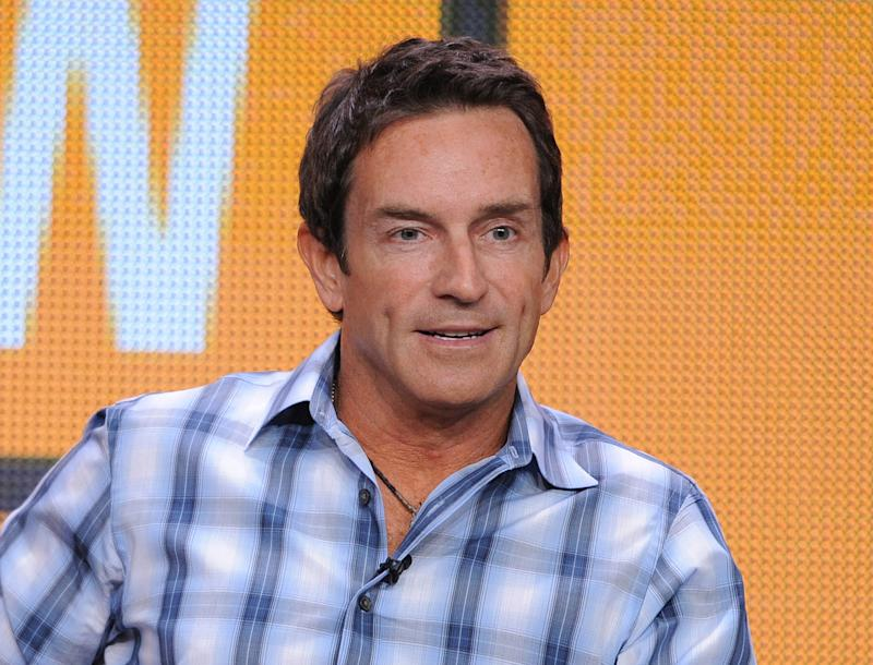 """FILE - This July 29, 2012 file photo shows TV host Jeff Probst participating in the CBS """"The Jeff Probst Show"""" TCA panel in Beverly Hills, Calif.  Probst is part of a crowded Class of 2012 in the syndicated talk world. Even though he's spent the past decade in prime time as host of television's most consistently successful reality show, he's less known than his rivals _ Katie Couric, Steve Harvey and Ricki Lake. His first week's guests include a couple in their 90s who met and got married within two weeks, three women in their 80s who dispense sex advice, stars of the documentary """"The Queen of Versailles"""" who talk about their effort to build a big new house, and an 8-year-old girl who founded an organization to make the world a better place. (Photo by Jordan Strauss/Invision/AP, file)"""