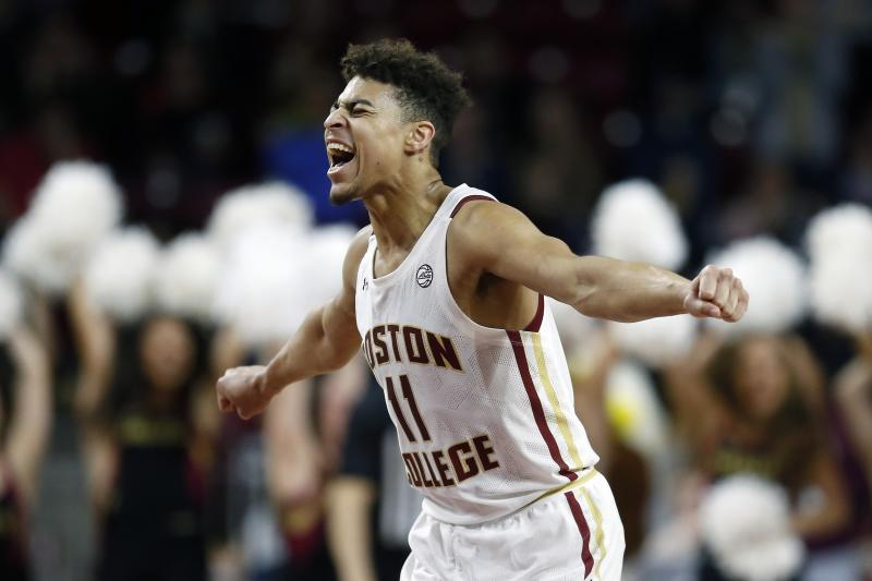 Boston College's Derryck Thornton reacts after a basket by Jairus Hamilton during the second half of the team's NCAA college basketball game against North Carolina State in Boston, Sunday, Feb. 16, 2020. (AP Photo/Michael Dwyer)