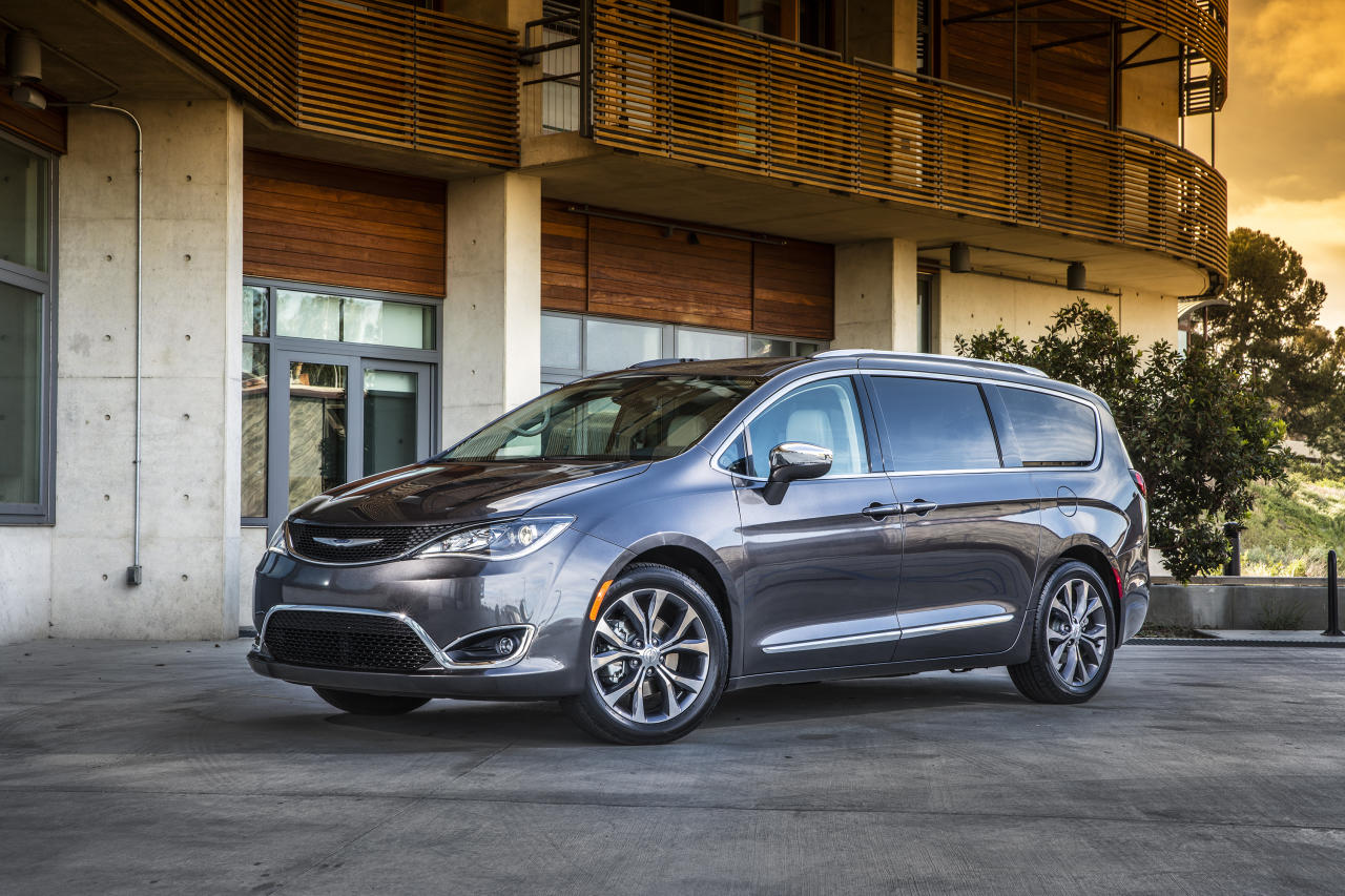 <p> This photo provided by Fiat Chrysler Automobiles shows the 2018 Chrysler Pacifica minivan. The Pacifica is sleekly styled, seats up to eight passengers, and can be easily configured for both passengers and cargo-hauling duty. (Courtesy of FCA US LLC via AP) </p>