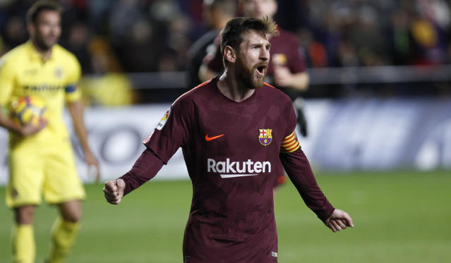 Barcelona's Lionel Messi celebrates after scoring against Villarreal during the match the Spanish La Liga soccer match between Villarreal and FC Barcelona at the Ceramica stadium in Villarreal, Spain, Sunday, Dec. 10, 2017. (AP Photo/Alberto Saiz)