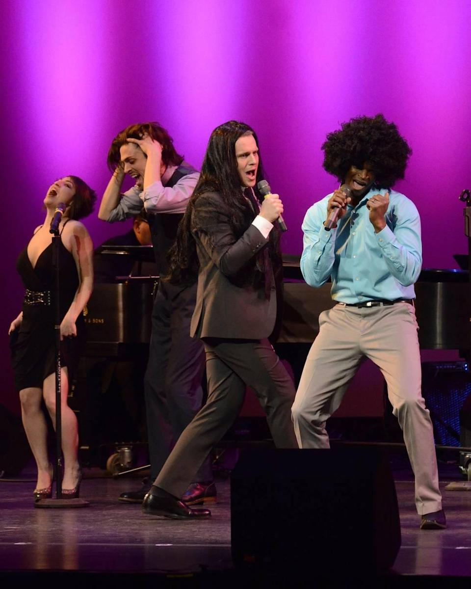 """Jonathan Groff, center, and Darian Sanders, right, lead a performance of the title tune from """"Hair"""" during the inaugural production of the Lexington Theatre Company's """"Concert with the Stars"""" in 2015. Groff, known for his role as King George in the popular Broadway play """"Hamilton,"""" was starstruck with Sanders' performance."""