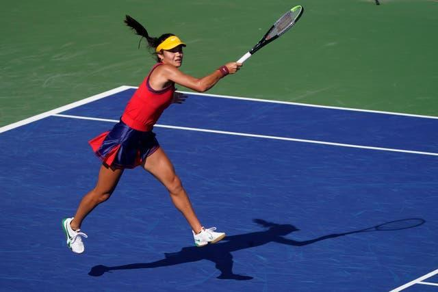 Emma Raducanu in full flow as she made the fourth round at the US Open in style