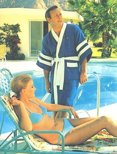 Palmer hangs poolside in this ad for terry cloth.